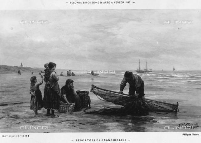 Crab fishermen, by Philip Lodewijk Jacob Frederik Sadee