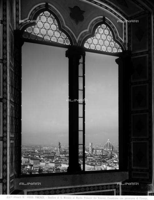 Panorama of Florence taken from a mullioned window of palazzo dei Vescovi near the church of S.Miniato al Monte