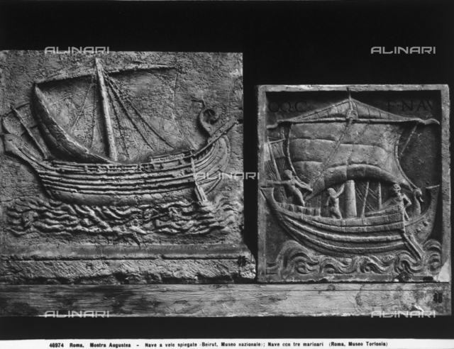 Ship with three sailors, relief, formerly in the Torlonia Museum, Rome