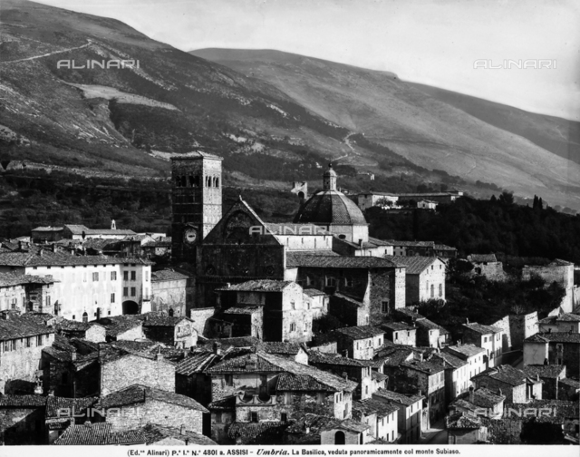 Panoramic view of Assisi, the Basilica is visible in the foreground and Mount Subasio is in the background