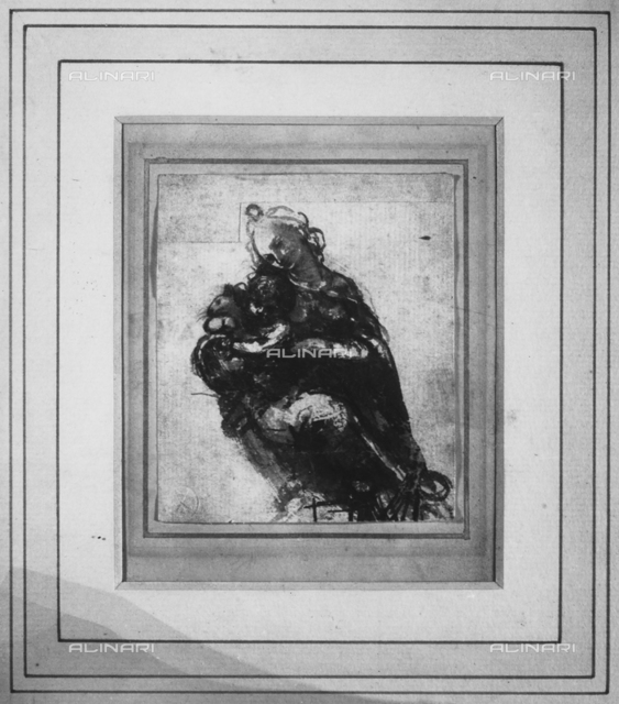 Photograph of sepia ink sketch of the Madonna del Gatto by Leonardo da Vinci taken in 1939 by Alinari