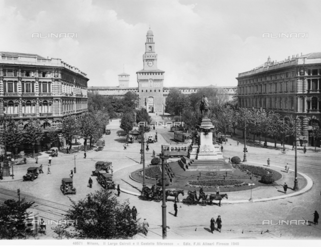 View of Largo Cairoli and Castle Sforzesco in Milan
