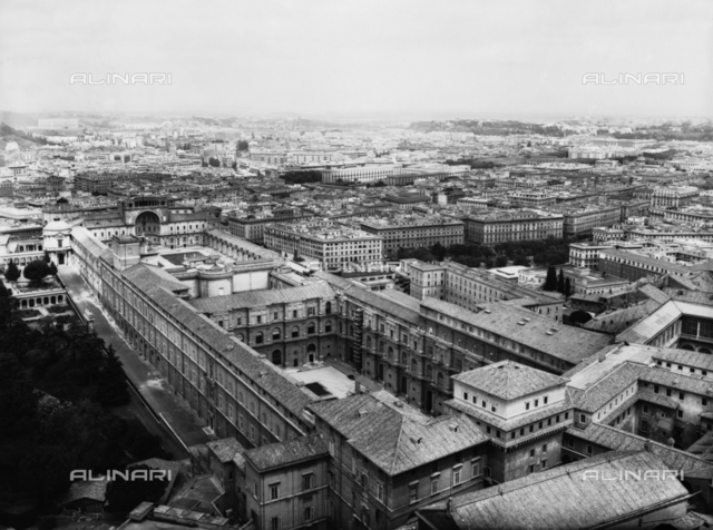 Panoramic view of the Vatican buildings in Rome, from the dome of the Basilica of St. Peter