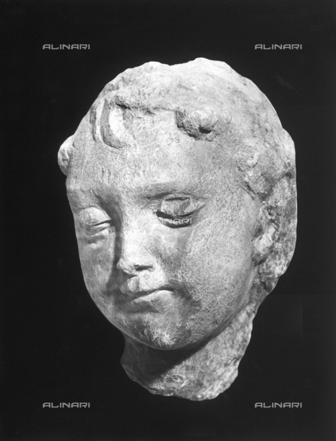 Angel head, sculptural fragment from the Facade of the Majesty of the Vaults, 1473-1476, Agostino di Duccio (1418?1481 ca.), Galleria Nazionale dell'Umbria, Perugia
