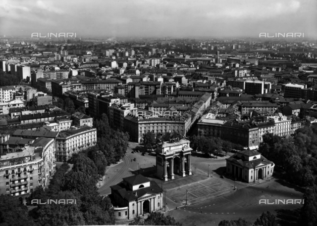 View of Milan from the Park Tower towards the Arch of Peace