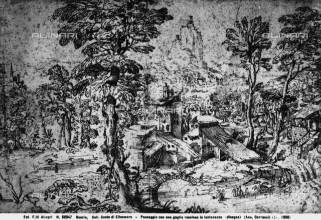 Landscape with Houses in the Foreground, Annibale Carracci