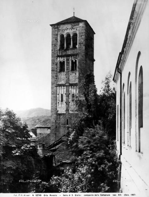 Bell-tower of the basilica of Saint Julius, Island of Saint Julius, Lake Orta