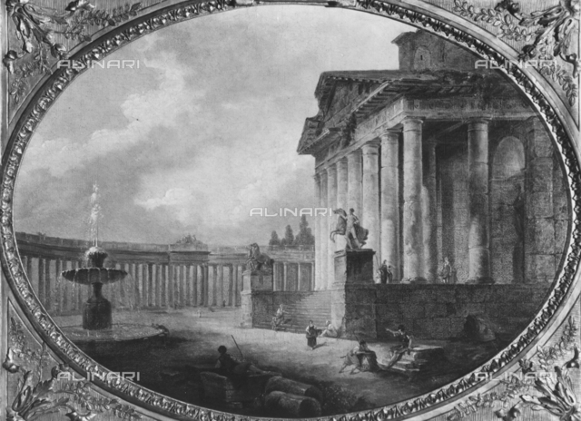 Ideal view of a temple inside the portico of St. Peter in Rome, Hubert Robert