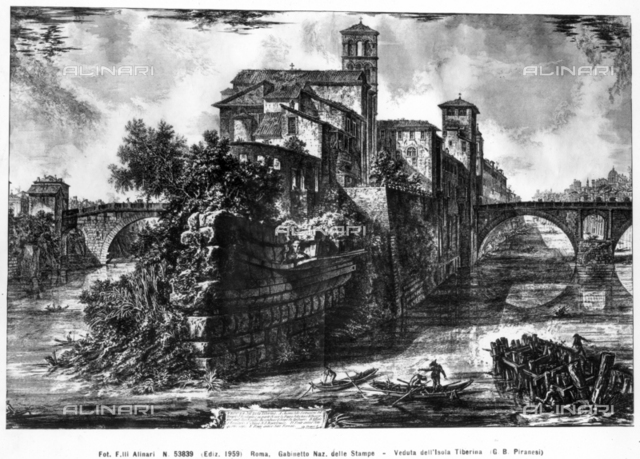 View of Tiber Island in Rome; print by Giovan Battista Piranesi; National Print Cabinet, Rome