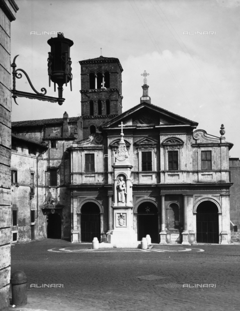 The faà§ade of the church of St. Bartholomew on the Isle, Rome
