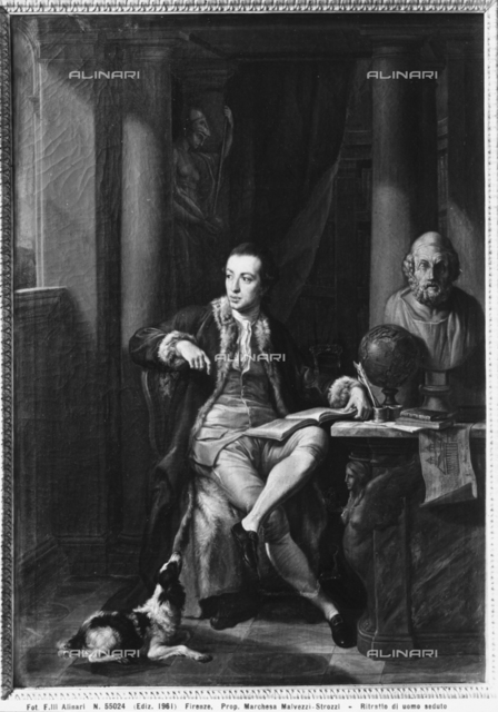 Portrait of a man seated at a desk, painting by an unknown artist