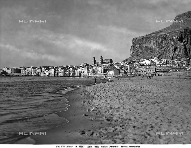 Panoramic view of Cefalù from the beach