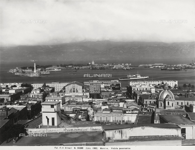 Panoramic view of the city and port of Messina