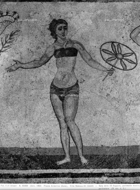 Girl in a bathing suit and girl in a tunic, mosaic of ten maiden gymnists, Villa Romana del Casale, Piazza Armerina