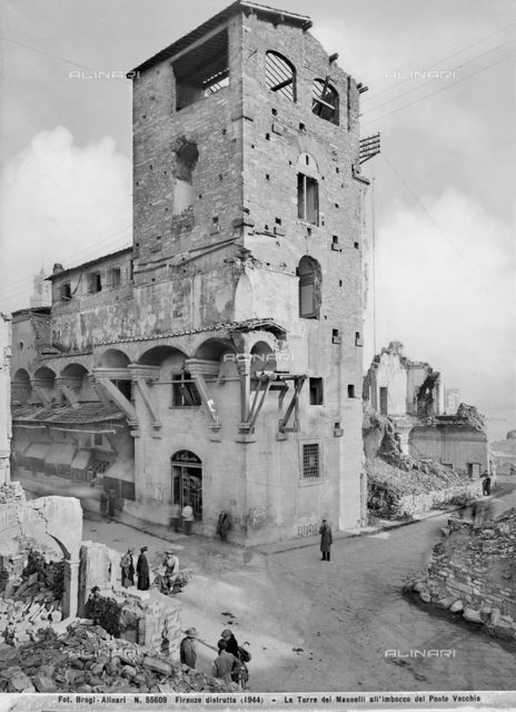 Second World War: the tower of Mannelli mouth of the Ponte Vecchio in Florence damaged by the explosion of mines. This photograph was part of the Brogi Collection, but now merged into the Alinari collection