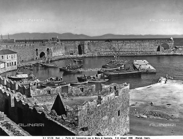 View of the Port of Commerce with Castiglia Walls, Rhodes