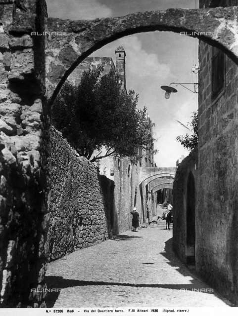 View of a picturesque street of the Turkish quarter, Rhodes