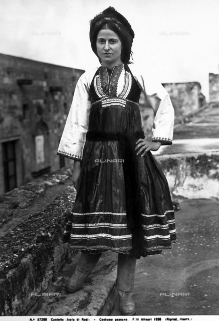 Portrait of a woman in typical country dress from the island of Rodi.