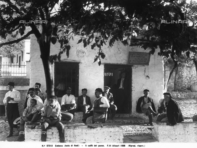 Group of men sitting outside a cafe in Embonas, island of Rodi.