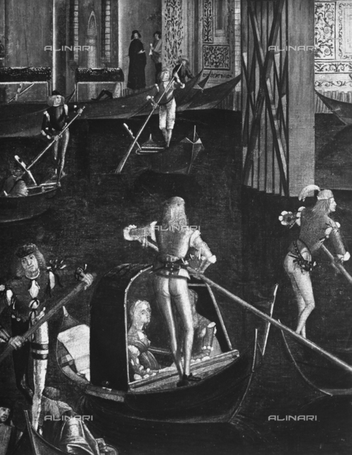 The regatta, detail of the painting depicting the Healing of the Madman, Accademia Galleries, Venice
