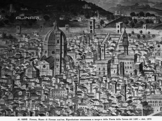 """View of Florence, 19th century painting, large scale reproduction of the """"Carta della Catena"""" map, the original is in the Kupferstchkabinett in Berlin, reproduction in the Museo di Firenze Com'era, Florence"""