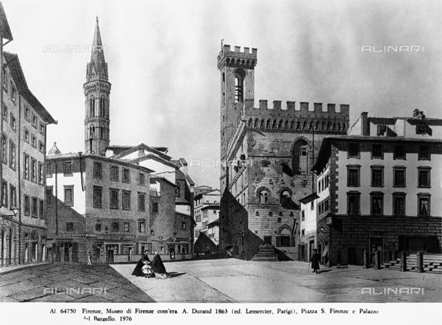 Piazza San Firenze and the Palazzo del Bargello, lithograph, Museo Storico Topografico Firenze Com'era, Florence