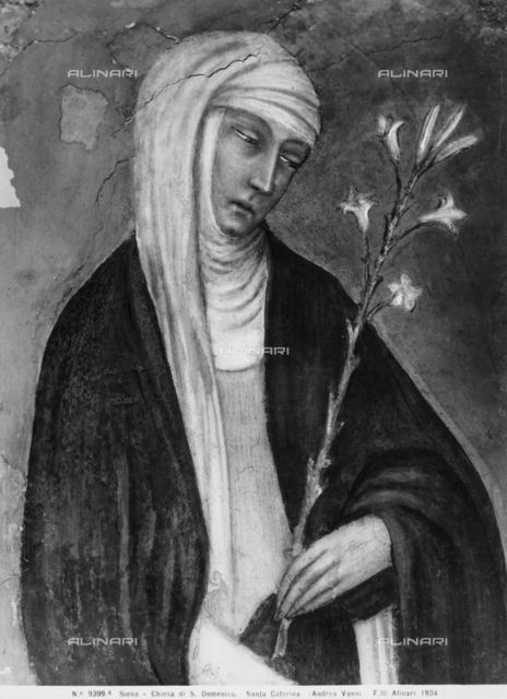 St. Catherine of Siena, detail, fresco by Andrea Vanni, Chapel of the Vaults, Church of S. Domenico, Siena