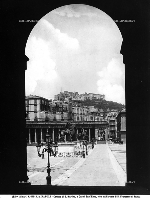 Piazza del Plebiscito in Naples. The Carthusian monastery of San Martino can be seen on the hill