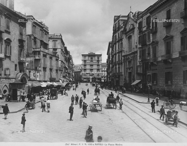 View of Via Medina with people in Naples