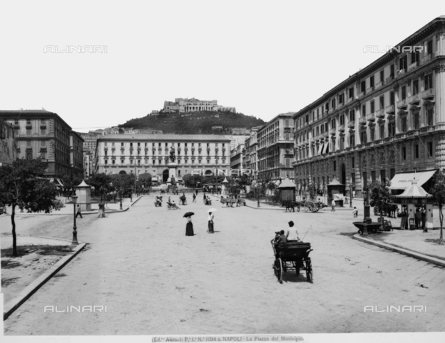 View with people of Piazza del Municipio in Naples