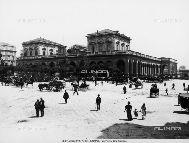 View with people of Piazza Stazione in Naples