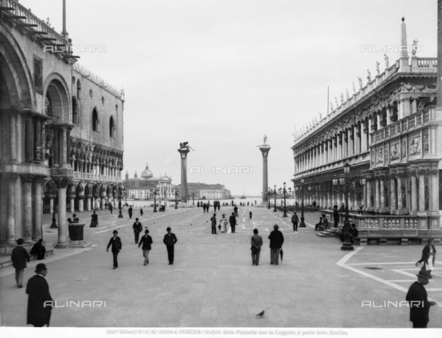 View of the Piazzetta with the Loggetta and part of St. Mark's Basilica, in Venice