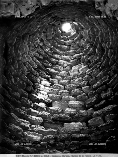Inside view of the vault of a nuraghe in Isili, Sardinia