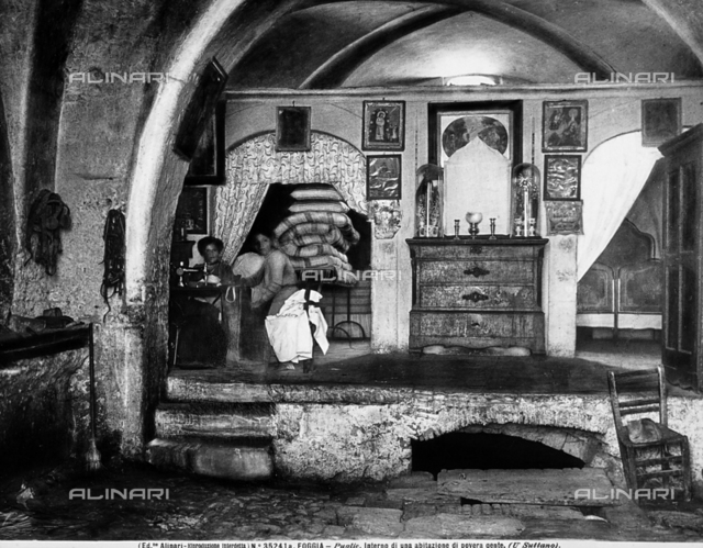 Interior of a poor family's house, in Foggia