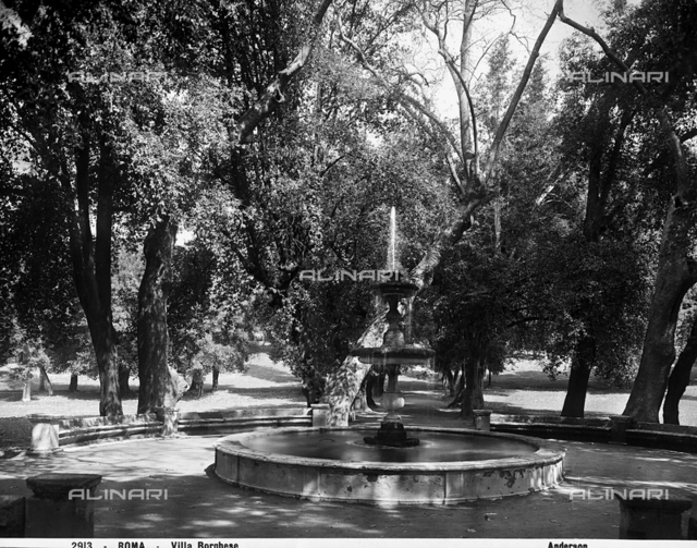A fountain in the park of Villa Borghese, Rome