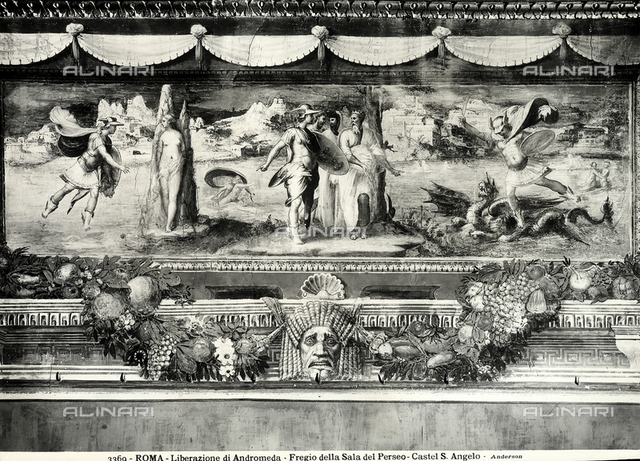 Liberation of Andromeda, detail of the frieze with the Stories of Perseus and Andromeda, Perseus Hall in the Museum of the Castle of S. Angelo, Rome.