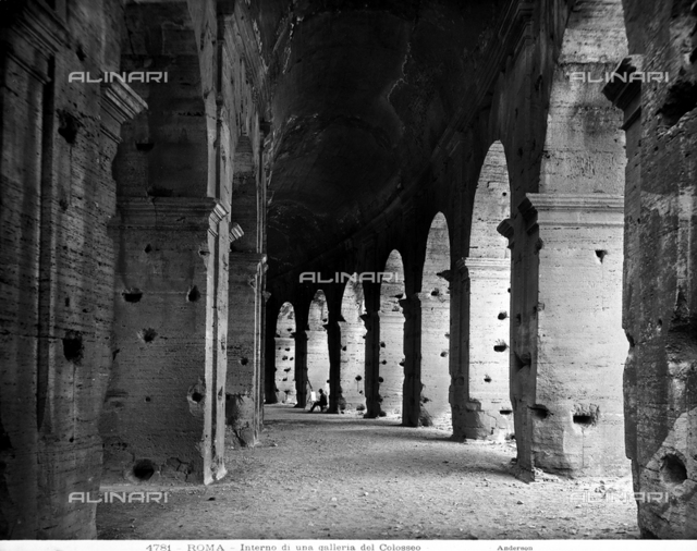 Interior view of one of the galleries of Flavian Amphitheatre in Rome.