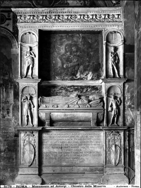 Tomb of Cardinal Astorgio, cloister, Church of S. Maria del Popolo, Rome.