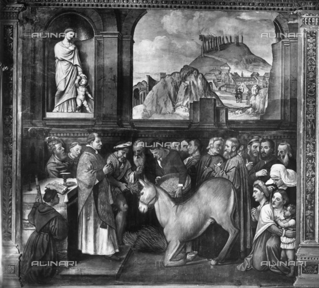Miracle of the mule, episodes from St. Anthony's life, Scuola del Santo, Padua.