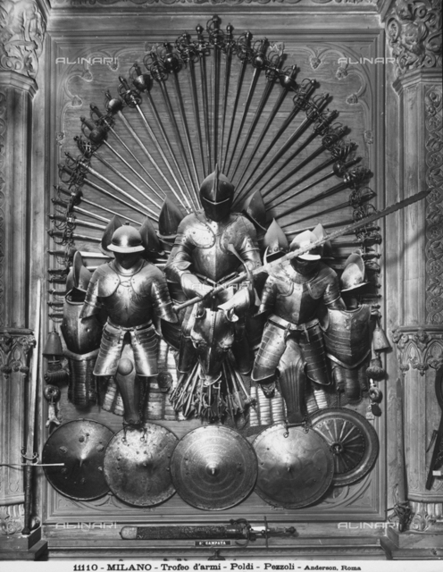 An arms trophy in the Hall of Arms of the Museo Poldi Pezzoli, Milan