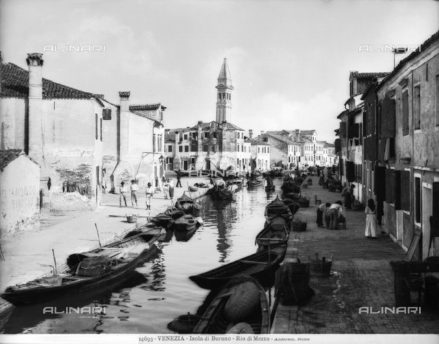 View of Rio di Mezzo on the Island of Burano in the lagoon of Venice