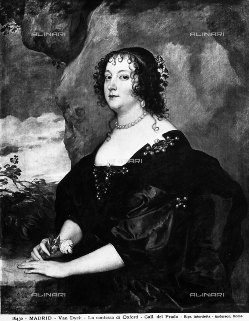 Portrait of the Countess of Oxford, work by Anton van Dyck exhibited at the Prado Gallery, Madrid.