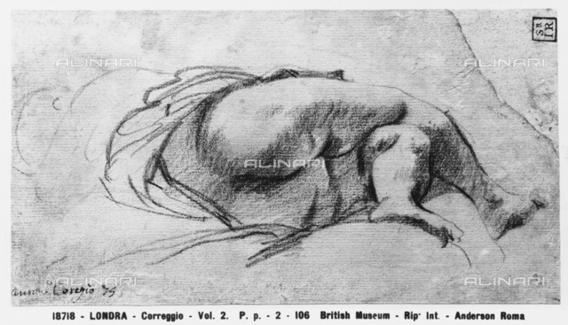 Study of the legs of a woman, drawing by Correggio, British Museum, London