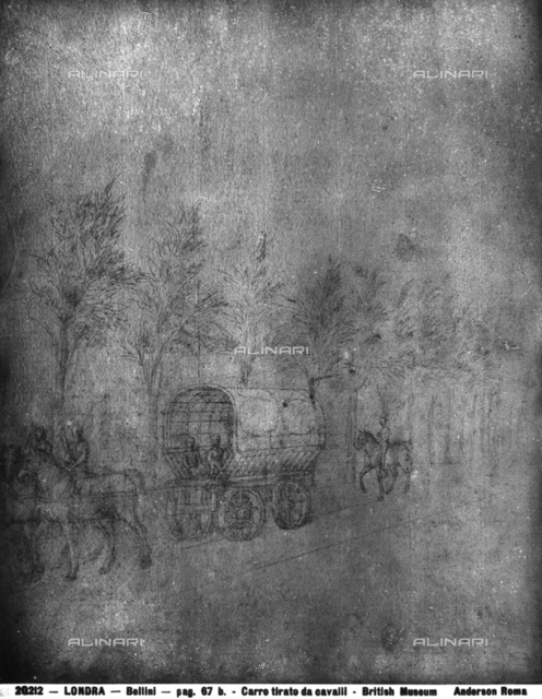 Wagon drawn by horses, drawing by Jacopo Bellini, British Museum, London