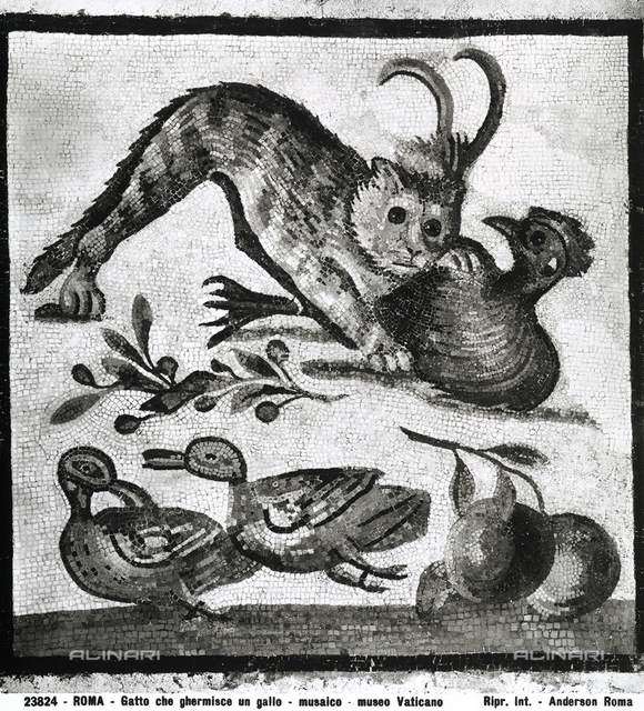Roman mosaic with a cat attacking a rooster; Vatican Museums, Vatican City