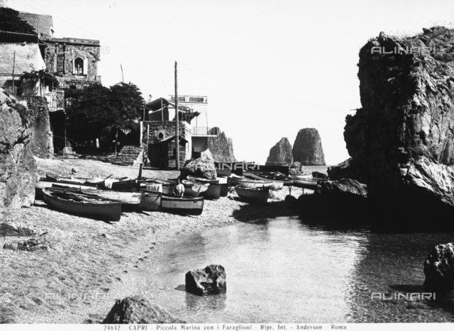 An inlet near the Piccola Marina, Capri; the Faraglioni Rocks can be glimpsed in the background