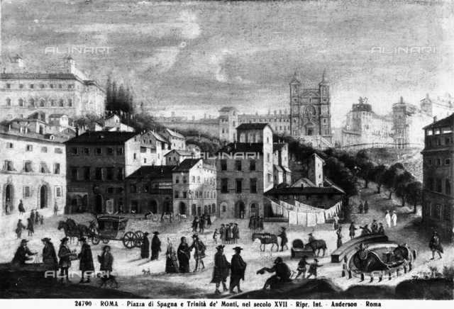 Piazza di Spagna and Trinità dei Monti in Rome, print, Rome