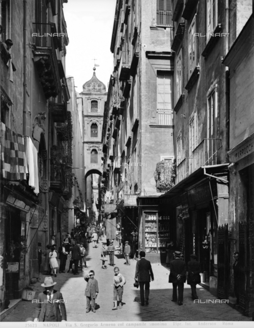 View of the picturesque Via San Gregorio Armeno in Naples