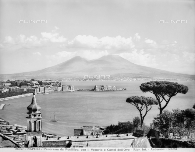 View of the gulf of Naples with Mount Vesuvius in the background