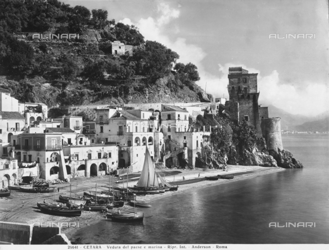 View of the small port and ancient town of Cetara, a quaint seaside resort on the Amalfi Coast